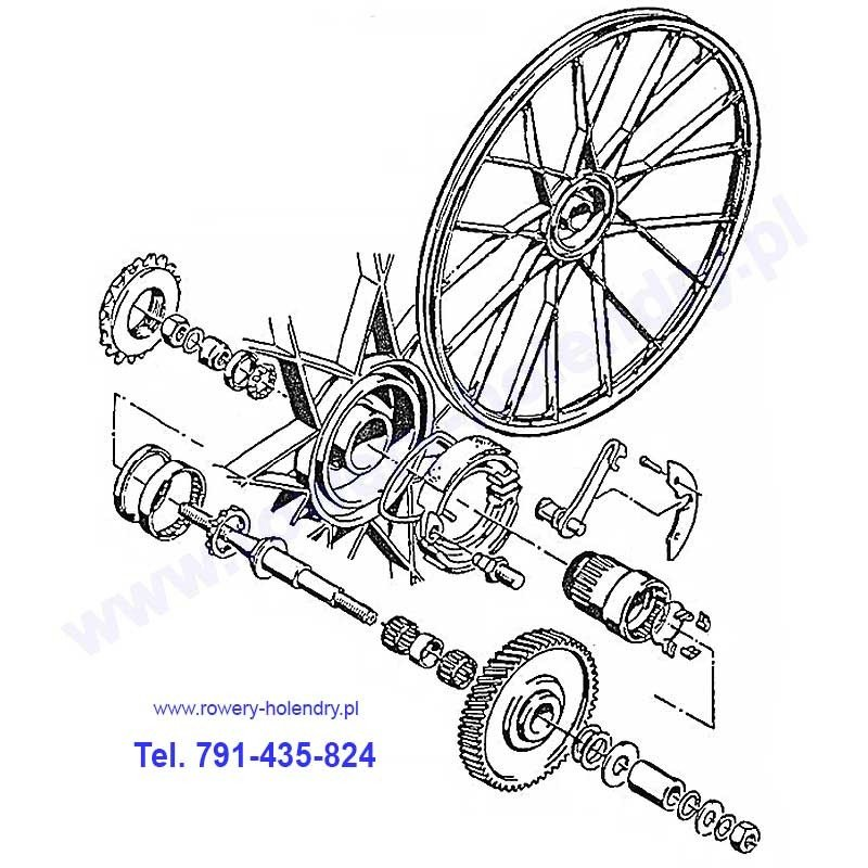Schemat przekładni napędu - rower z silnikiem spalinowym Sachs 301A