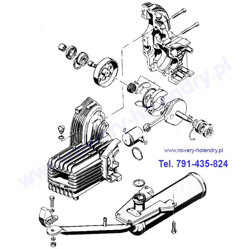 Schemat sprzęgła i tłumika - rower z silnikiem spalinowym Sachs 301A